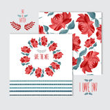 Oil painted floral cards set Royalty Free Stock Images