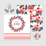 Oil painted floral cards set Stock Images