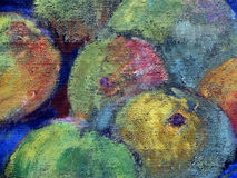 Oil painted fruits. Royalty Free Stock Photos