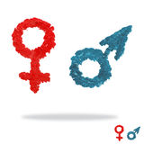 Oil painted man and woman symbols Stock Photography