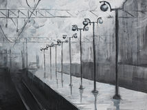 Oil painted picture with rainy train station Stock Image