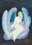 Oil painted white angel on cloud in black sky Royalty Free Stock Photography