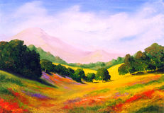 Oil Painting. Beautiful Original Oil Painting Landscape On Canvas Stock Photo