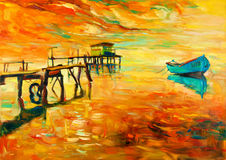 Oil painting. Original oil painting of boat and jetty(pier) on canvas.Sunset over ocean.Modern Impressionism