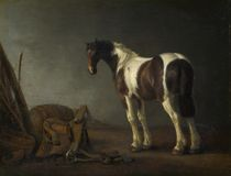 Abraham van Calraet - A Horse with a Saddle Beside it royalty free stock photo