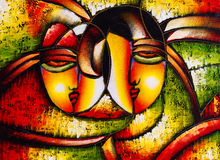 Oil Painting - Abstract Face stock illustration