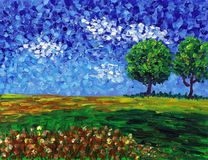 Oil Painting - Abstract Field Stock Photo