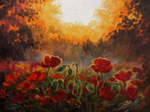 Oil Painting - abstract illustration of poppies Stock Image