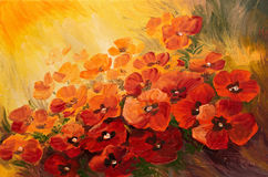 Oil Painting - abstract illustration of poppies Royalty Free Stock Photo