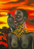 Oil painting of african woman Royalty Free Stock Photography