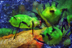 Oil painting aphids on a leaf. Oil painting aphids on a green leaf Royalty Free Stock Image