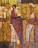 Oil painting, artist Roman Nogin, series `Female talk.` Author`s version of color Stock Images
