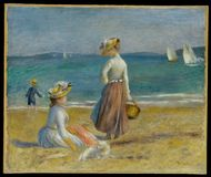 Auguste Renoir -figures On The Beach stock images