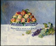 Auguste Renoir -still Life With Peaches And Grapes stock images