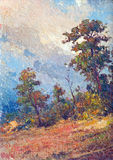 Oil painting - autumn forest Royalty Free Stock Photos