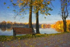 Oil painting with autumn lake. Landscape and bench Stock Photos