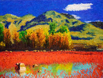 Oil Painting - Autumn Landscape Royalty Free Stock Image