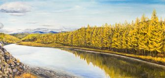 Oil painting. Autumn in the North. Beautiful calm river with the yellow larch trees on the shore Stock Photography