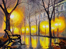 Oil painting of autumn street, art work Stock Image