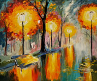 Oil painting of autumn street, art work Royalty Free Stock Photography