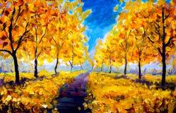 Oil Painting - autumn, yellow foliage, park, autumn trees vector illustration