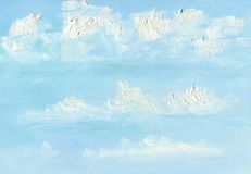 Oil Painting background. Aerial clouds in the blue spring sky. Texture of large brush strokes royalty free illustration