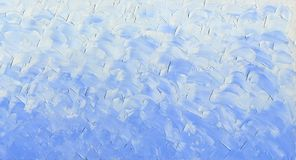 Oil Painting background. Spring blue sky with light clouds. Palette knife texture Stock Image