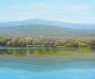 Oil painting of beautiful lake Royalty Free Stock Image