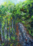 Oil Painting, beautiful multicolor Landscape , forest with  natural colors. Royalty Free Stock Photography