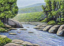 Oil painting of beautiful river stream. Oil painting of river stream  surrounded by rock, tree and mountain sky as background Stock Images