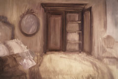 Oil painting of a bedroom
