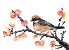 Oil painting bird. On paper Stock Photo