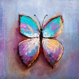 Oil painting of blue butterfly royalty free stock image