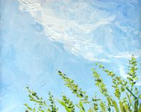 Free Oil Painting. Blue Sky Over Grass In The Field Stock Image - 162220481