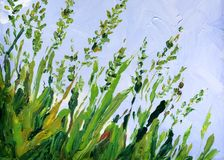 Free Oil Painting. Blue Sky Over Grass In The Field Stock Images - 162933744