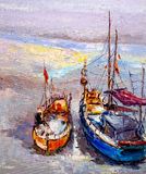 Oil Painting - Boat Stock Images