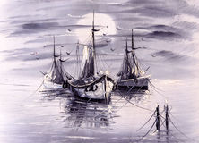 Oil Painting - Boat Royalty Free Stock Photography