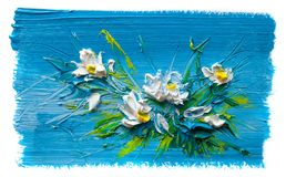 Abstract oil painting of  flower. Royalty Free Stock Image