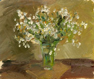 Oil painting a bouquet of flowers. Oil painting naturmort vase with flowers Stock Photo