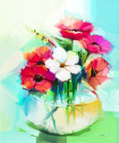 Oil painting a bouquet of gerbera and Hibiscus flower. Still life of white and red color flowers .Oil painting a bouquet of gerbera and Hibiscus flower with stock illustration