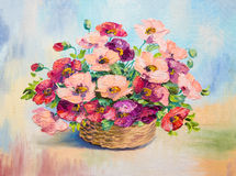 Oil painting - bouquet of poppies Royalty Free Stock Photos