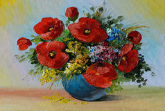 Oil Painting - bouquet of poppies and wildflowers in a vase Royalty Free Stock Photos