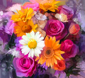 Oil painting a bouquet of rose,daisy and gerbera. Closeup Still life of white, yellow and red color flowers .Oil painting a bouquet of rose,daisy and gerbera Stock Images