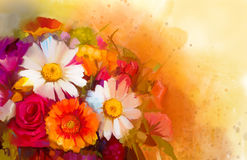 Oil painting a bouquet of rose,daisy and gerbera. Closeup Still life of white, yellow and red color flowers .Oil painting a bouquet of rose,daisy and gerbera Stock Photo