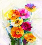 Oil painting a bouquet of rose,daisy and gerbera flower Royalty Free Stock Photography
