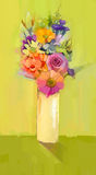 Oil painting a bouquet of rose,daisy and gerbera flowers Stock Photos