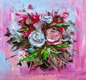 Oil painting flowers. Oil painting a bouquet of roses . Impressionist style Stock Images