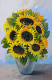 Oil painting - bouquet of sunflowers in a vase on an abstract background. Beautiful flowers vector illustration