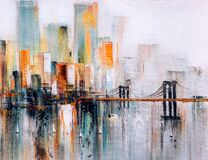 Free Oil Painting - Brooklyn Bridge, New York Stock Image - 193958861