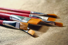 Oil painting brushes stock photos